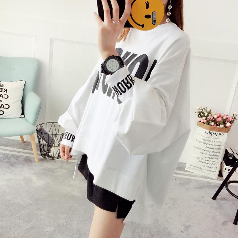 Women Autumn Winter Letters Printed Casual Long Sleeve Asymmetric Blouse Shirt Large Size white_XXL