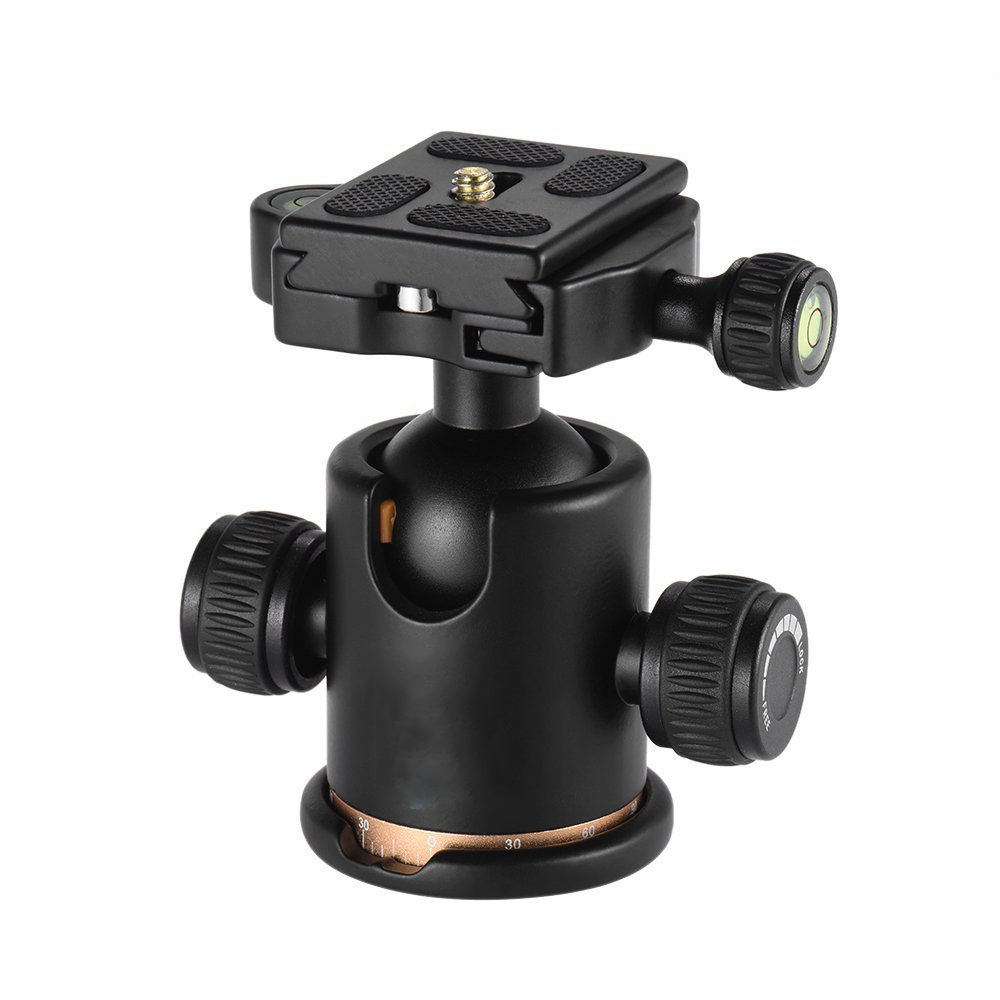 Tripod Head Aluminum Alloy Ball Head with Quick Release Plate 1/4