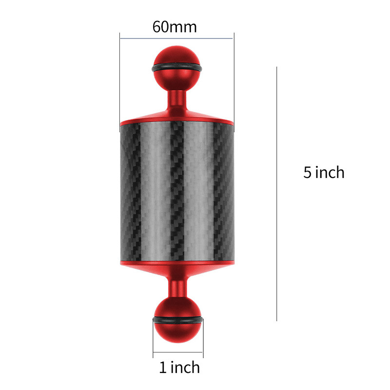 5/8/10/12 Inch Carbon Fiber Float Buoyancy Aquatic Arm Dual Ball Floating Arm Diving Camera Underwater Diving Tray red