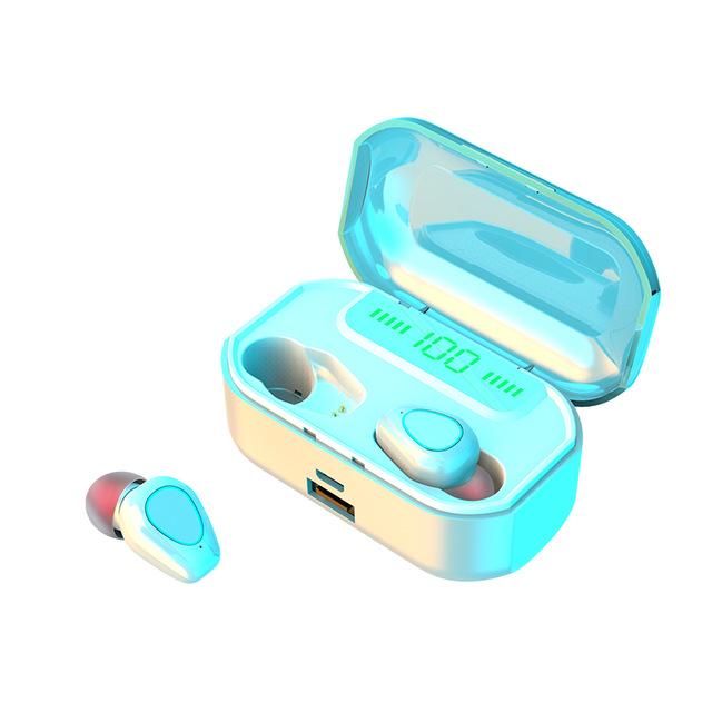 Bluetooth Headset Bluetooth 5.0 Earphone LED Wireless Headphone Headset Earbuds TWS Waterproof Sport Earphones white