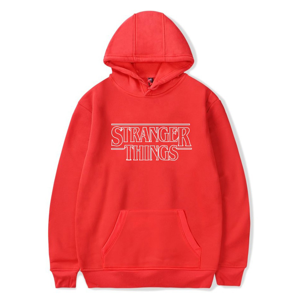 Men Fashion Stranger Things Printing Thickening Casual Pullover Hoodie Tops red--_S