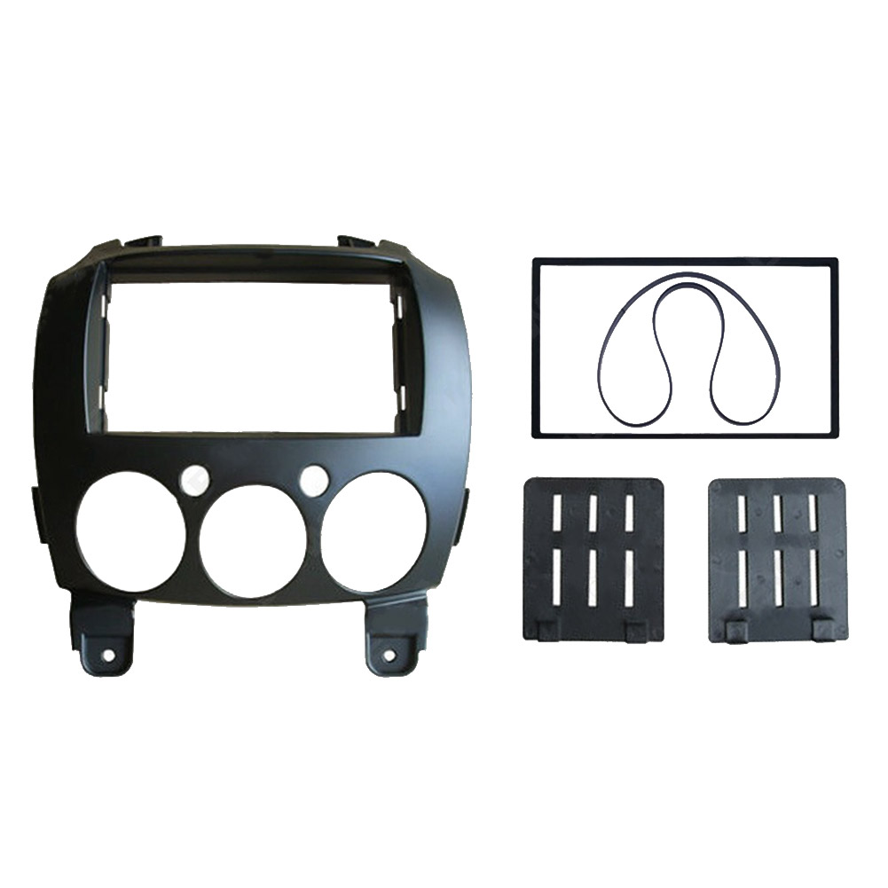 Car 2 Din Refitting Frame Panel for Mazda 2 2010 Demio 2007+ Stereo Radio Fascia Dash Mounting Trim Kit black