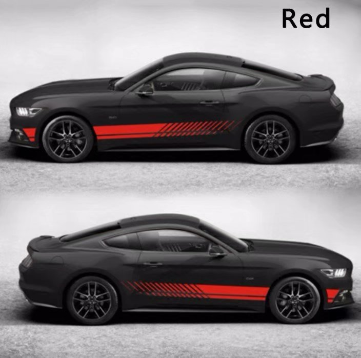 2Pcs/Set 2M Car Sticker Sports Racing Stripe Graphic Stickers Auto Car Body Side Door Vinyl Decals red