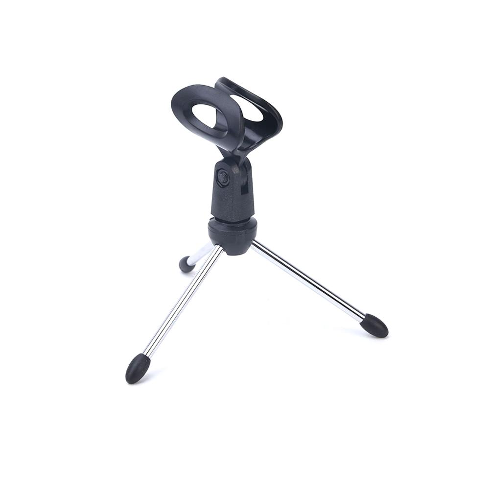 Microphone Mic Stand Tripod Bracket Portable Zinc Alloy Desktop Table Adjustable Holder black