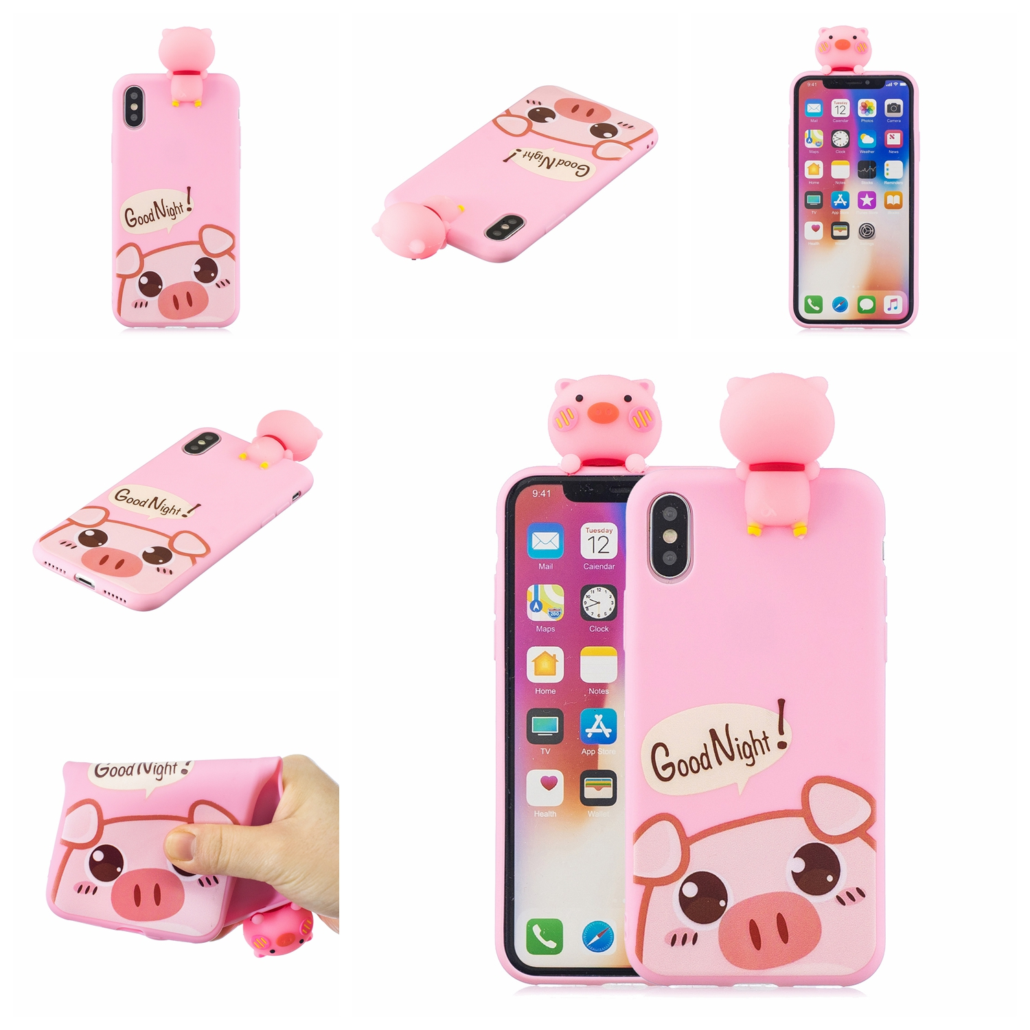 For OPPO A7 3D Cute Coloured Painted Animal TPU Anti-scratch Non-slip Protective Cover Back Case