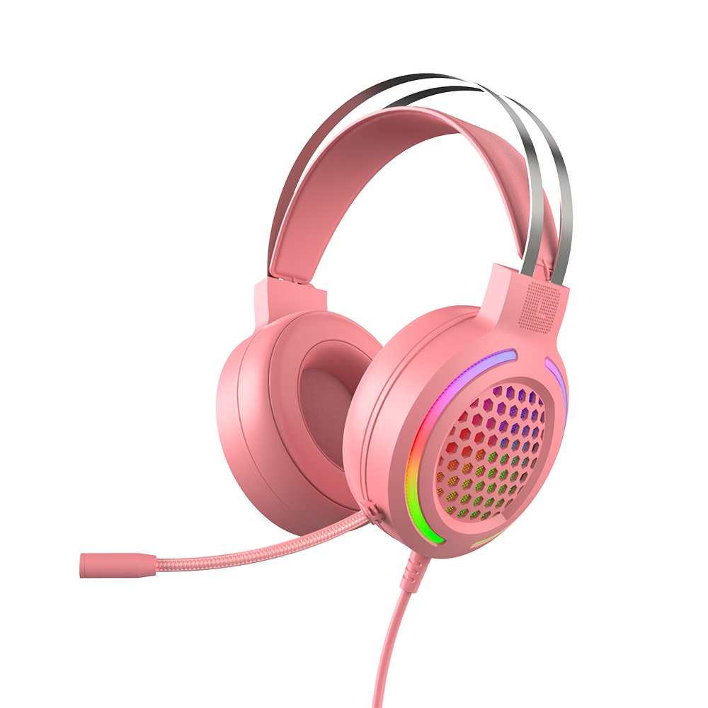 Hollow RGB Gaming Headset Wired Computer Headset Heavy Bass 7.1 Usb Headset With Microphone Pink