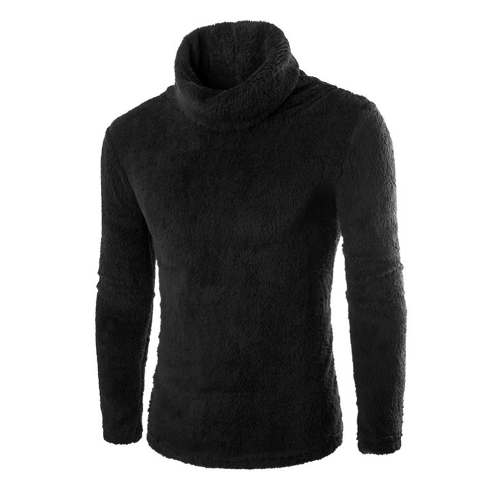 Slim Pullover Long Sleeves and High Collar Sweater Solid Color Base Shirt for Man black_2XL