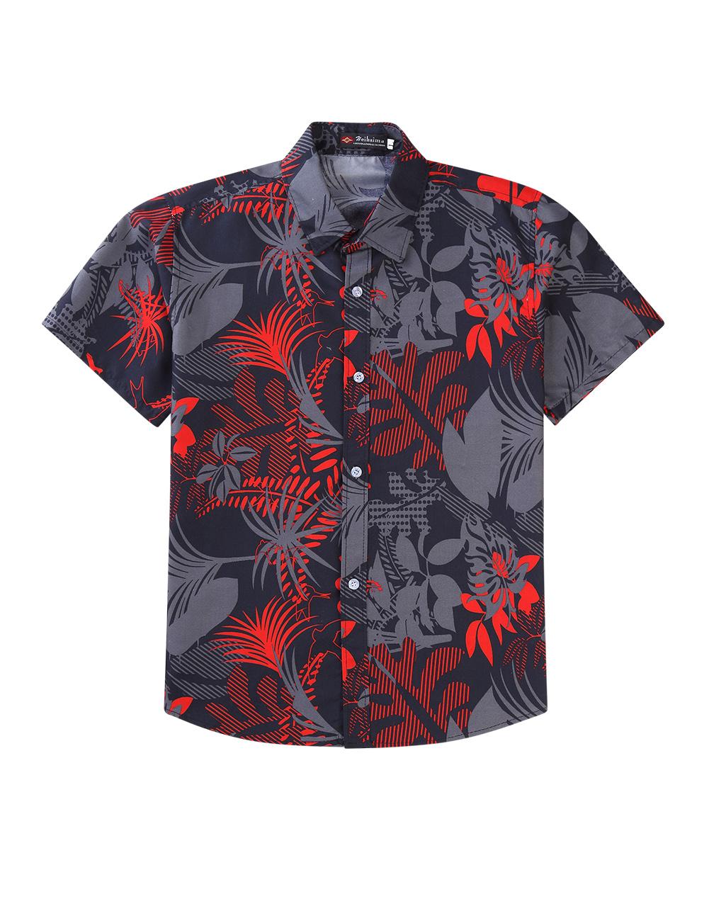 Men Women Hawaiian Summer Casual Printing Couples Short Sleeve Shirt 9#_XL