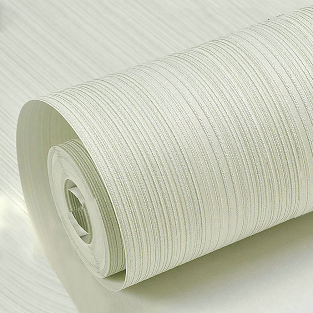 Solid Color Vertical Pinstripe Non-Woven Wallpaper for TV Background Decor 10M light green