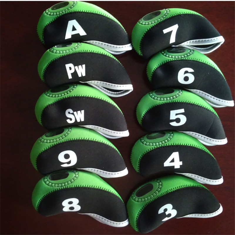 10pcs/set Number Pattern Golf Iron Rod Head Covers Protector Golf Rod Sleeve Accessories Black green