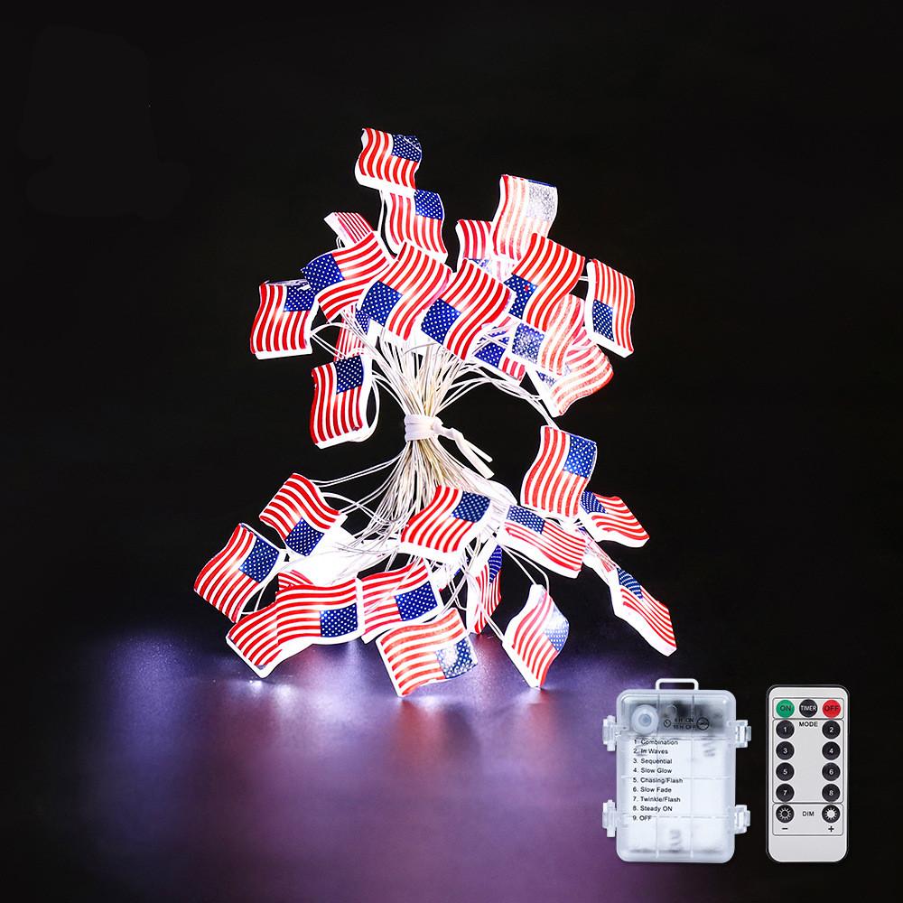 30LEDs String Lights American Flag Battery Powered Lights Decoration