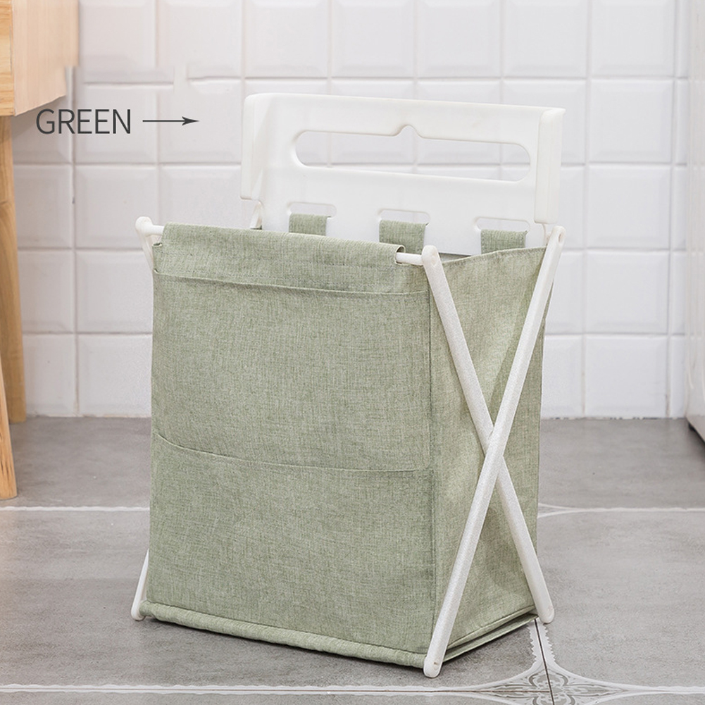 1pc Foldable Oxford Cloth Storage Basket for Home Bathroom Laundry Organize green_35 * 30 * 19cm