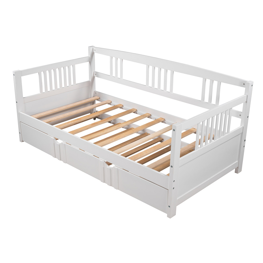 [US Direct] Twin Size Sofa Bed  Wood Daybed With Twin Size Trundle Housuehold Furniture white