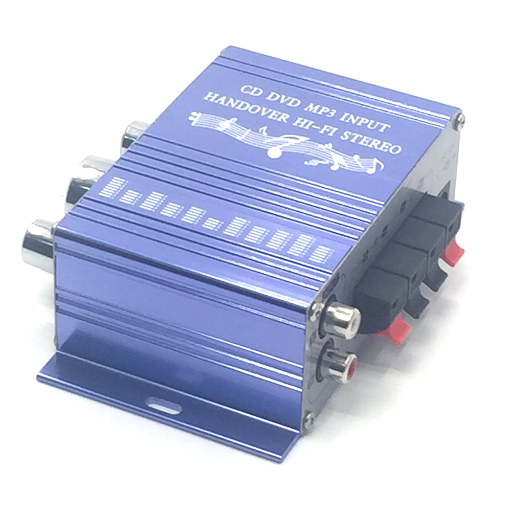 [Indonesia Direct] 12V 2CH Mini Hi-Fi Stereo Audio Small Amplifier AMP for Car Motorcycle Radio MP3 blue