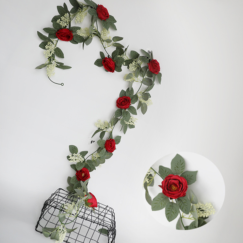 Silk Flower Artificial  Flower Rattan Wall-mounted Decorative Ornaments For Wedding Background Scarlet