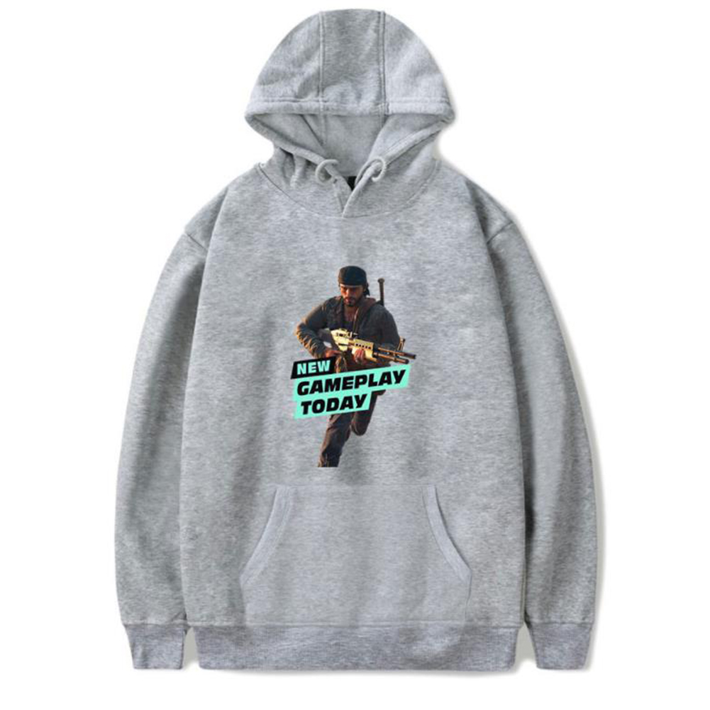 Men Fashion Game Figure Printing Hooded Sweatshirt Gray A_M