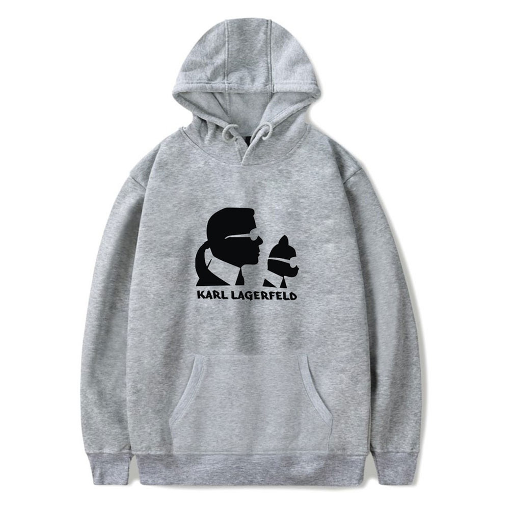 Men Fashion Printing Long Sleeve Hooded Sweatshirt C gray_XXL