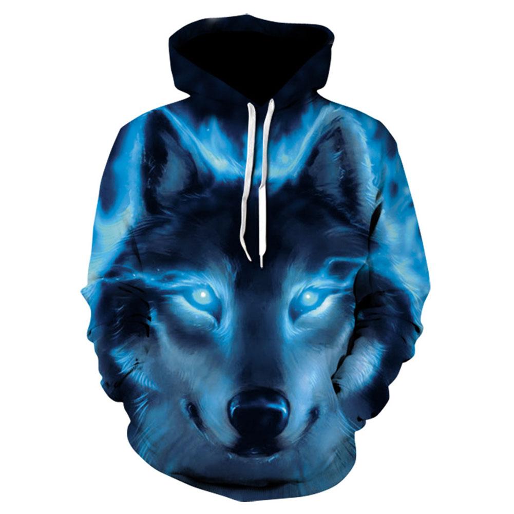 Men/Women Fashion 3D Wolf Pattern Hoodie Fashionable Hip Hop Hooded Pullover Sweatshirts WE148_M