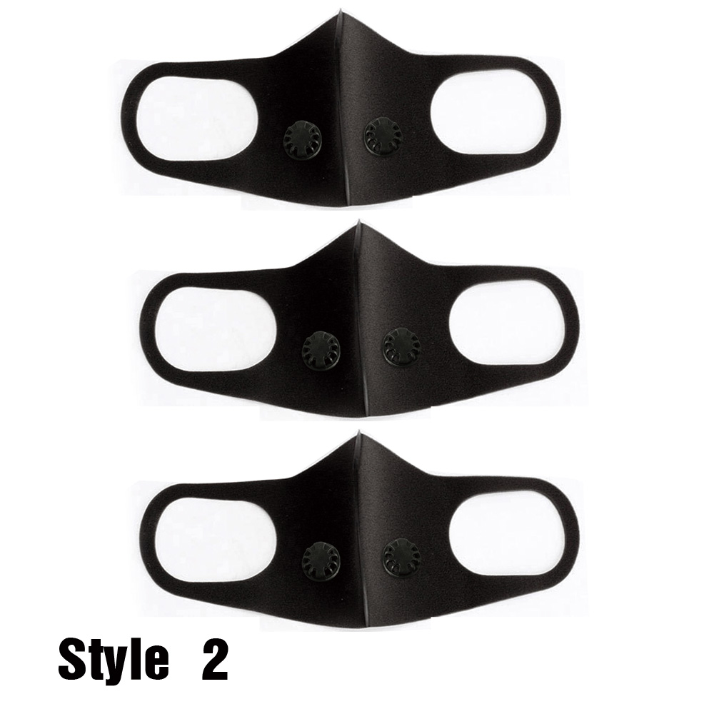 Sponge Protective Mask with Breathing Valve Outdoor Cycling Breathable Dustproof Windproof Washable Mask 3PCs
