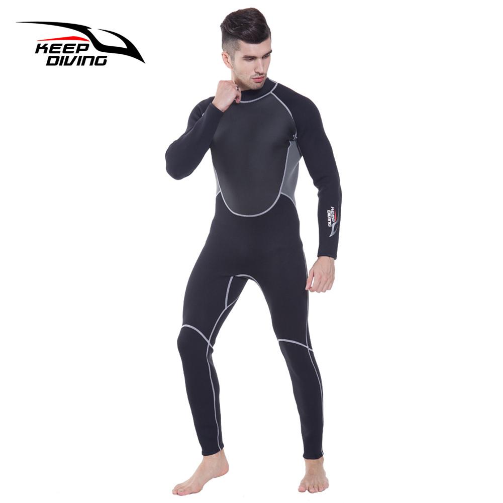 3mm Neoprene Wetsuit One-Piece Close Body Diving Suit for Men Scuba Dive Surfing Snorkeling Spearfishing Plus Size black_L