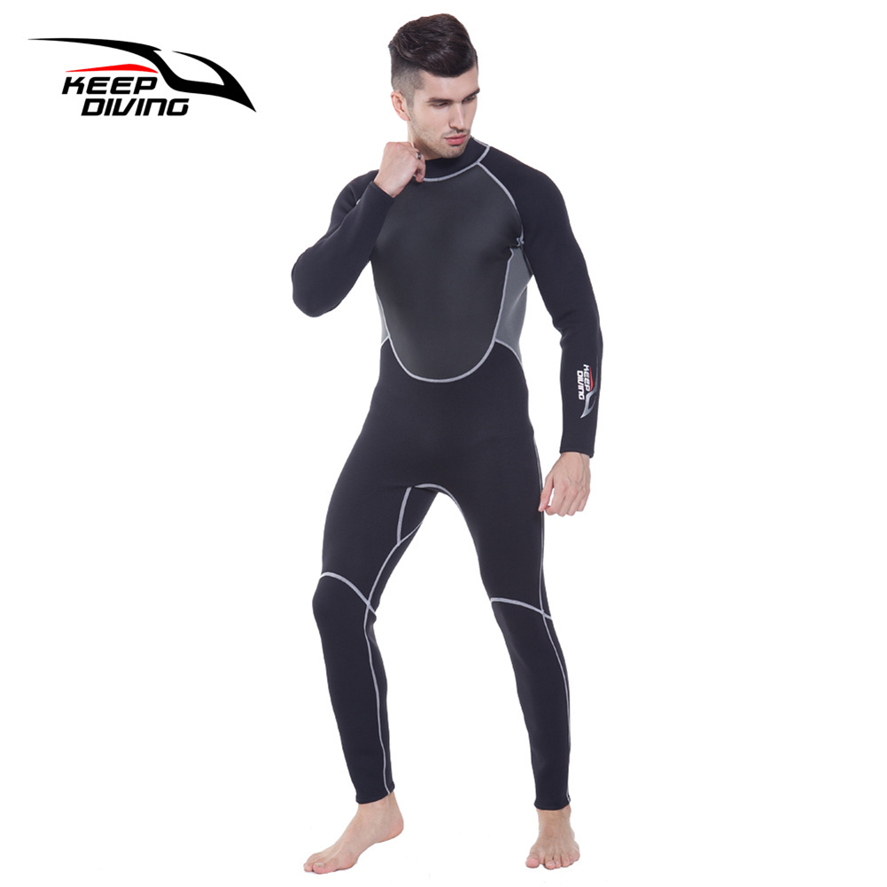 3mm Neoprene Wetsuit One-Piece Close Body Diving Suit for Men Scuba Dive Surfing Snorkeling Spearfishing Plus Size black_S