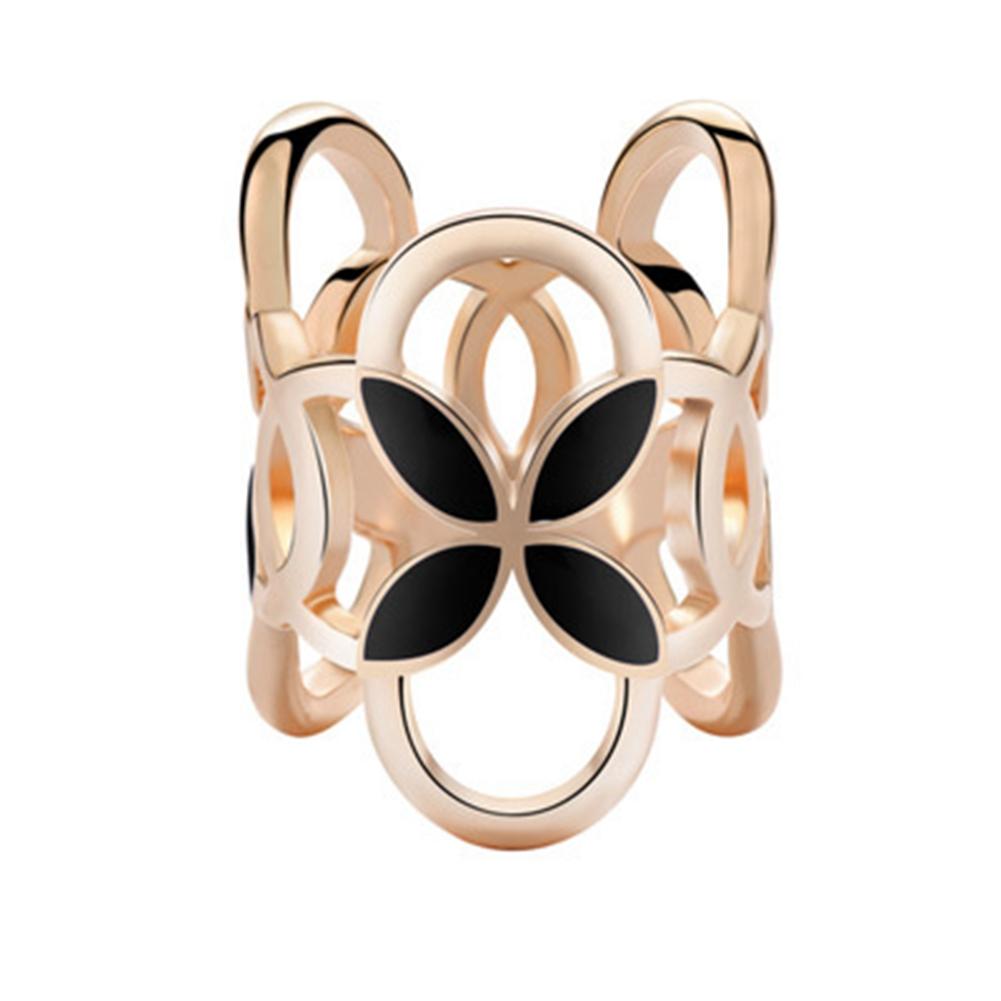 [EU Direct] Fashion Three Ring Scarf Clip Four-leaf Clover Shawl Buckle Brooch Pin for Women
