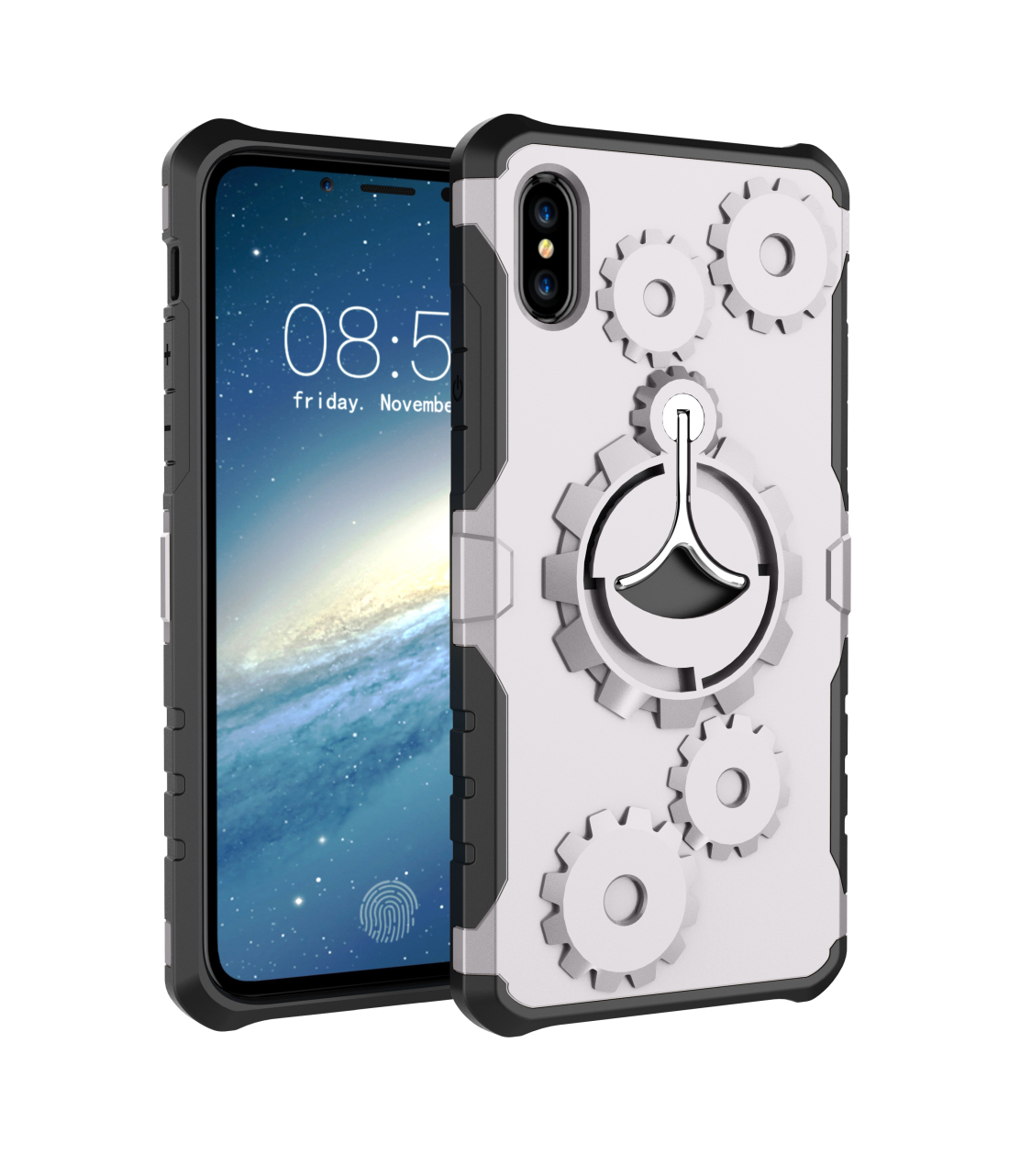 Creative Gear Bracket Mobile Phone Shell Non-slip Shockproof Full Protective Case for iPhone 8 (with Armband)