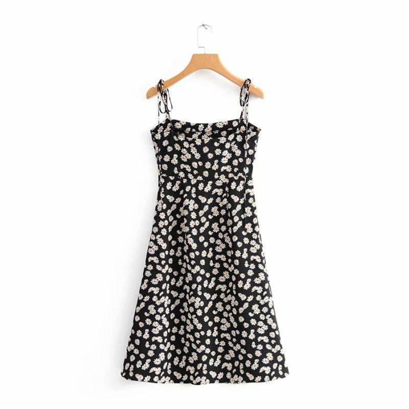 Women Sling Dress Slim High Waist Daisy Print Retro Summer A-line Short Long Dress Long dress_S