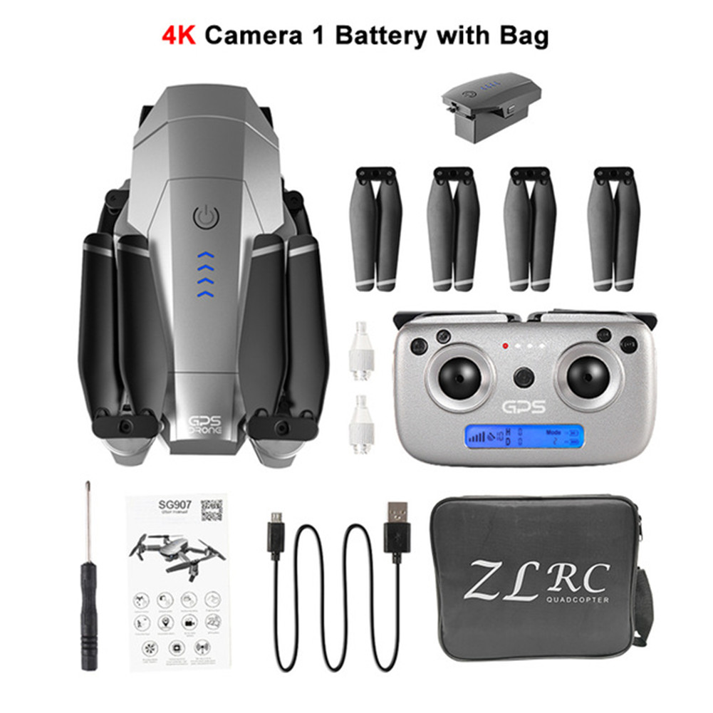 SG907 GPS Drone with 4K 1080P HD Dual Camera 5G Wifi RC Quadcopter Optical Flow Positioning Foldable Mini Drone VS E520S E58 Storage bag 4K one-battery