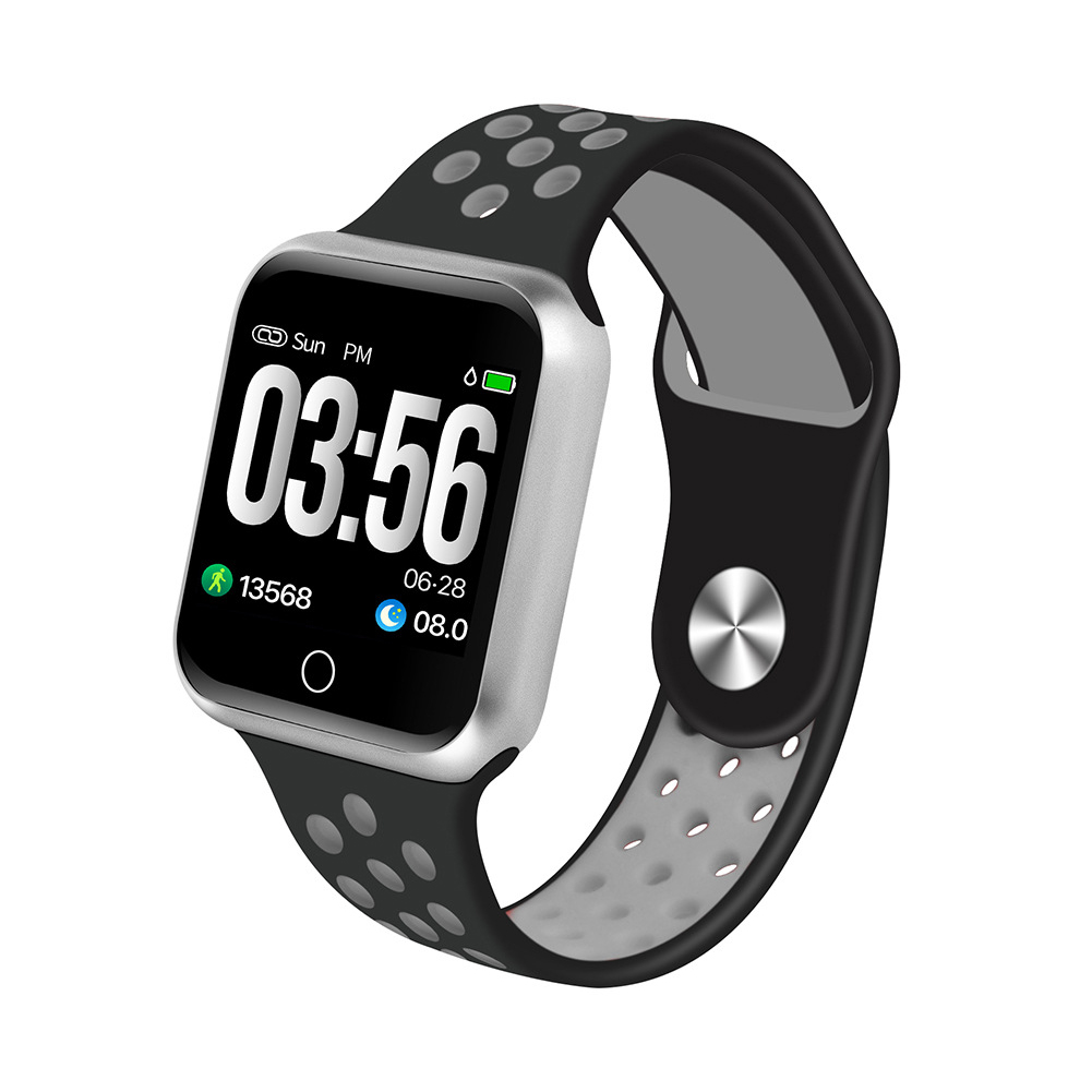 S226 Smart Watch Fitness Tracker Heart Rate Monitor Smart Bracelet Blood Pressure Pedometer  Silver shell + black gray strap
