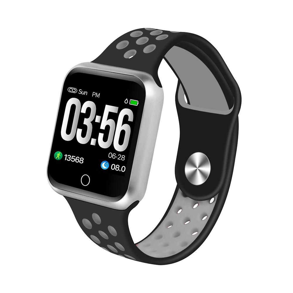 S226 Smart Watch Fitness Tracker Heart Rate Monitor Smart Bracelet Blood Pressure Pedometer  Silver shell + black gray strap