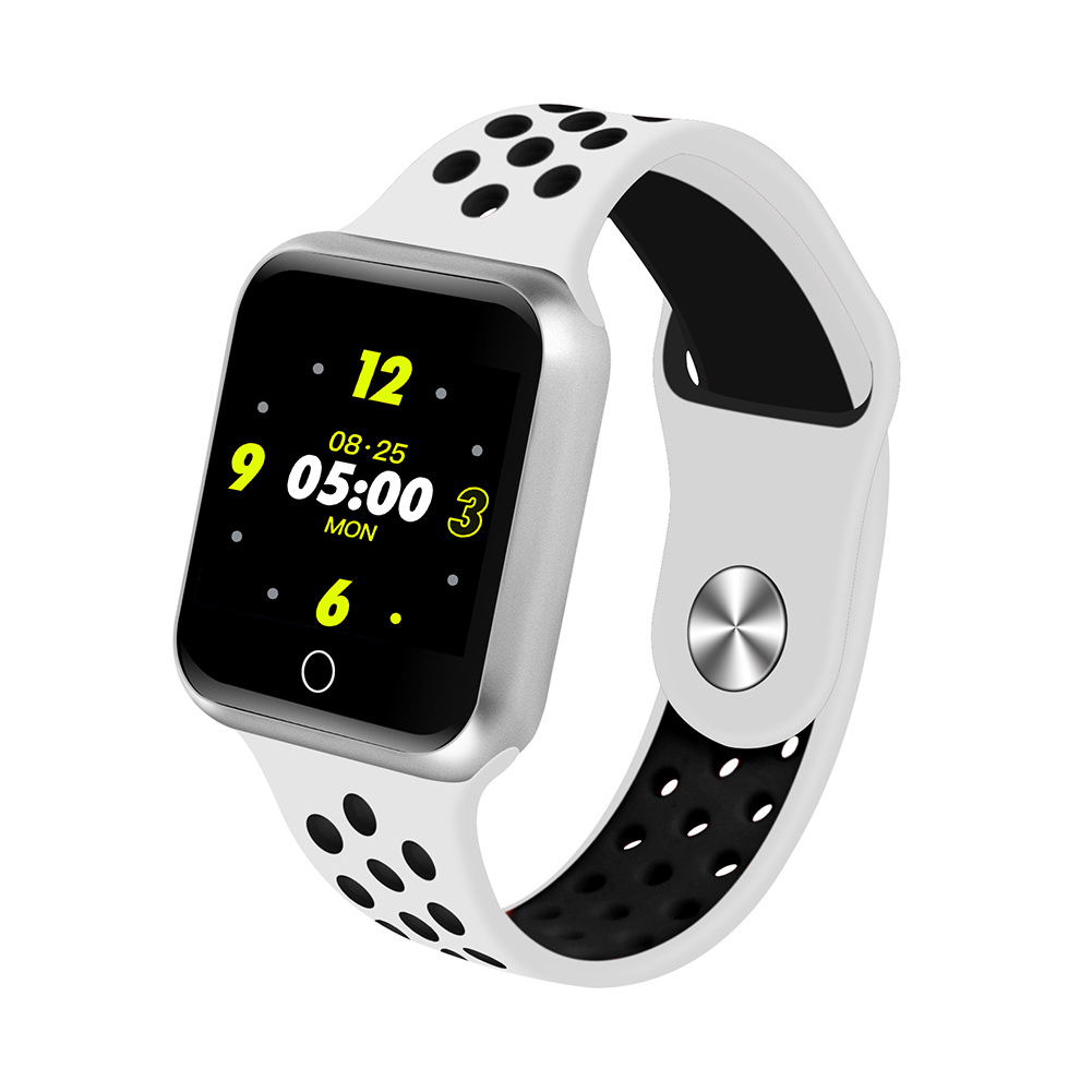 S226 Smart Watch Fitness Tracker Heart Rate Monitor Smart Bracelet Blood Pressure Pedometer  Silver shell + white black strap