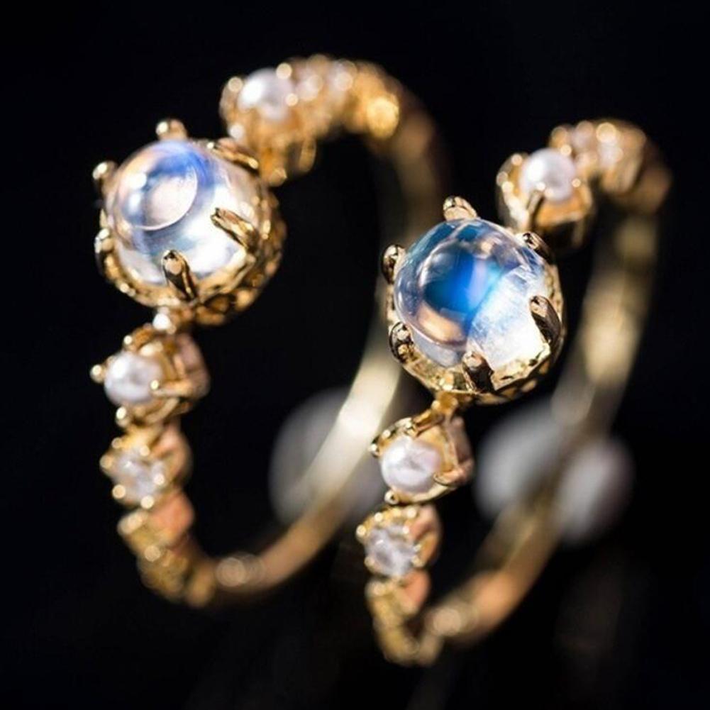 Women Elegant Opal Bridal Engagement Ring Jewelry
