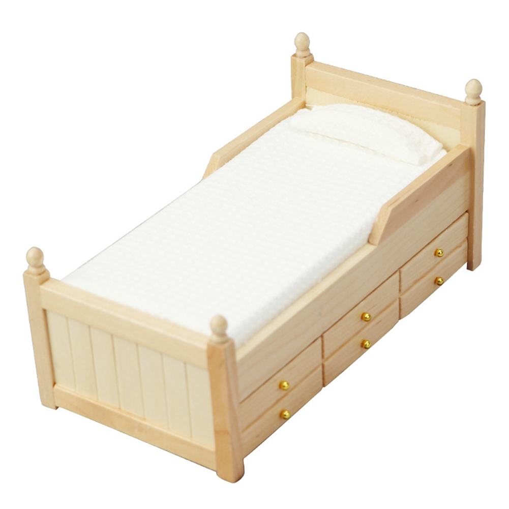 Wooden 1:12 Dollhouse  Mini  Single  Bed Scene Decoration Furniture Modern Wood Color Drawer Bed Wood color