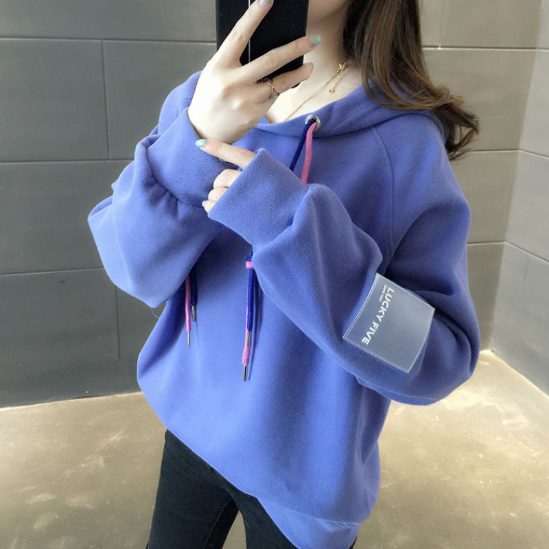 Women Loose Thickening Fleece Lined Casual Sport Hooded Pullover for Autumn Winter   purple_L