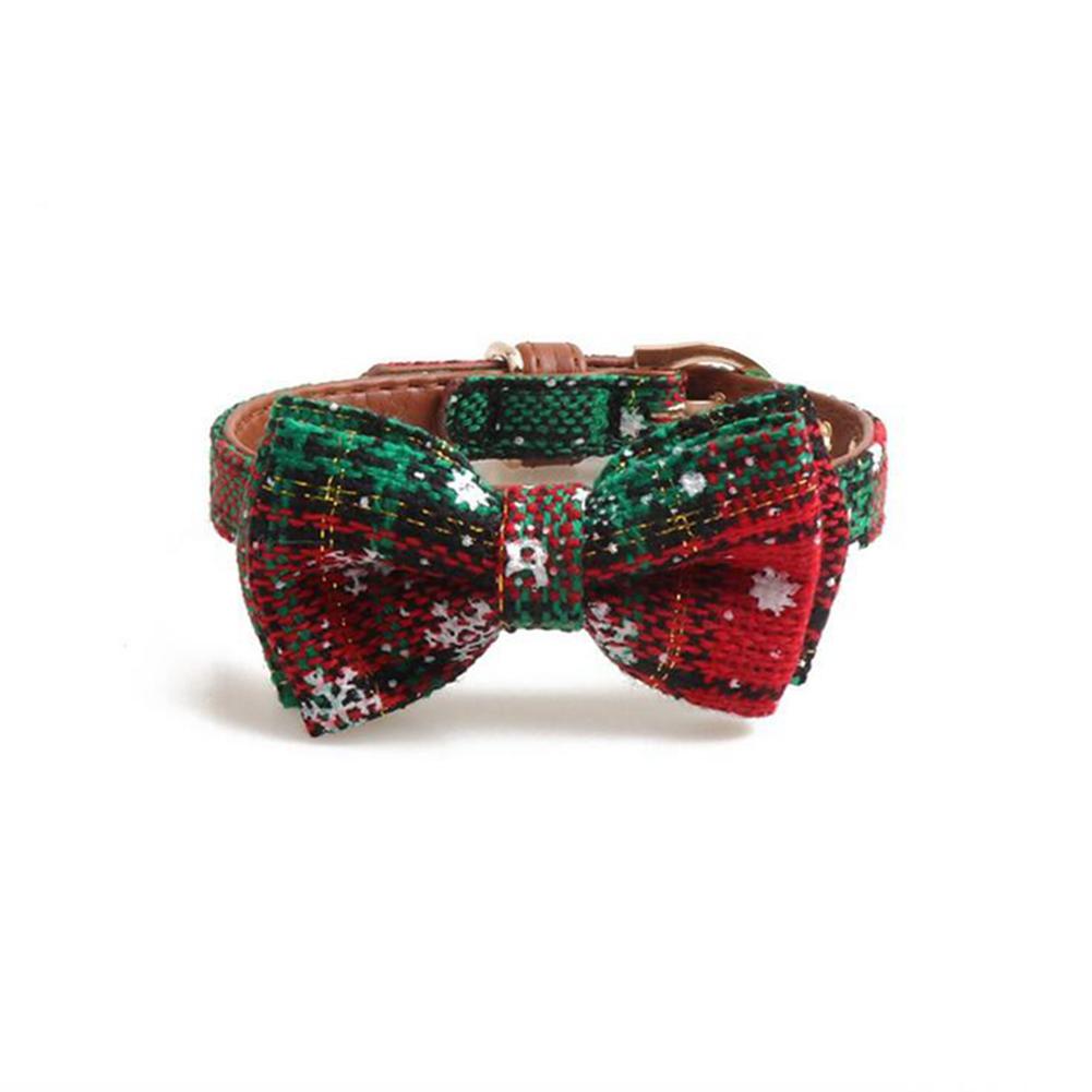 Pet  Collar Dog Bowknot Triangle Scarf Dog Cat Neck Belt Chrimats Christmas Style Pet Supplies green