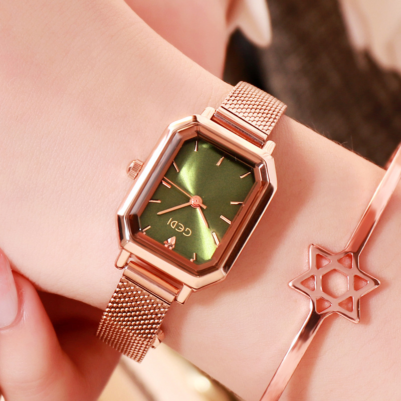 Women's Bling Starry Dial Analog Waterproof Quartz Wrist Watches for Student Casual Office  Rose gold shell light green plate