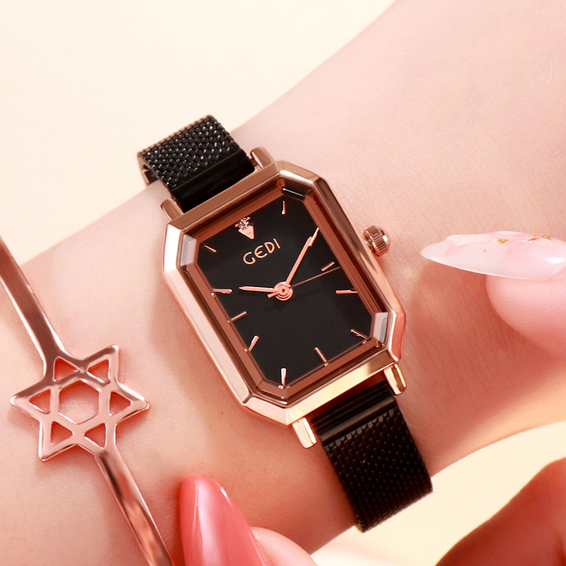 Women's Bling Starry Dial Analog Waterproof Quartz Wrist Watches for Student Casual Office  Black belt rose gold shell black plate