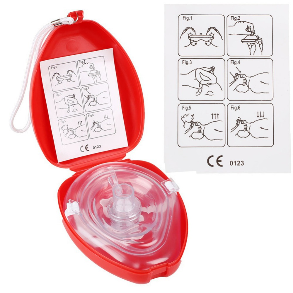 CPR Resuscitator Emergency First Aid Masks CPR Breathing Mask Mouth Breath One-way Valve Tools As shown