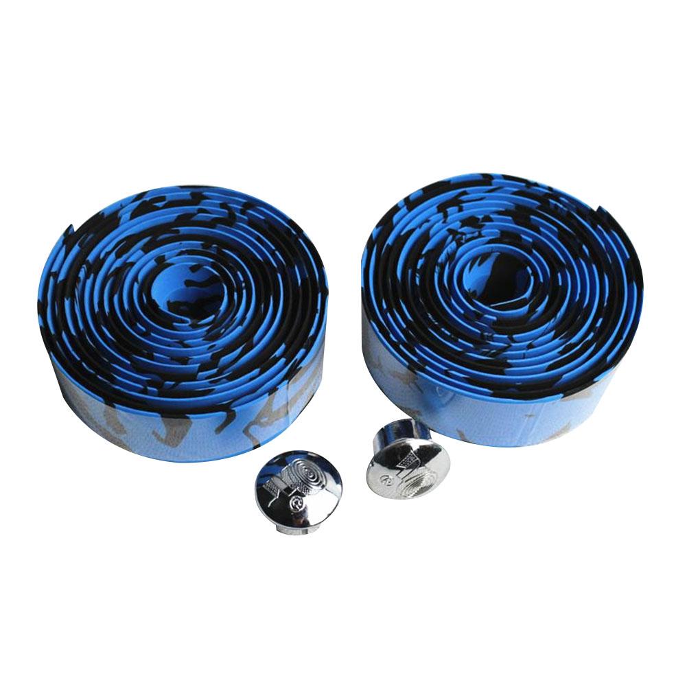 Soft Foam Cycling Road Bike Bicycle Handlebar Tape Anti-slip Anti-sweat Strap with 2 Bar Plugs Blue black