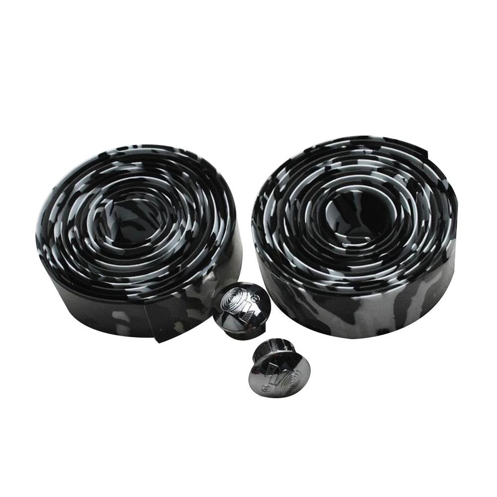 Soft Foam Cycling Road Bike Bicycle Handlebar Tape Anti-slip Anti-sweat Strap with 2 Bar Plugs White black