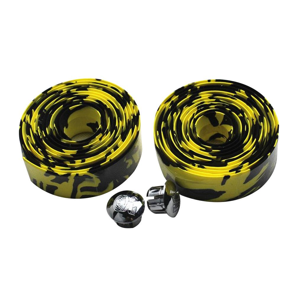 Soft Foam Cycling Road Bike Bicycle Handlebar Tape Anti-slip Anti-sweat Strap with 2 Bar Plugs Yellow black