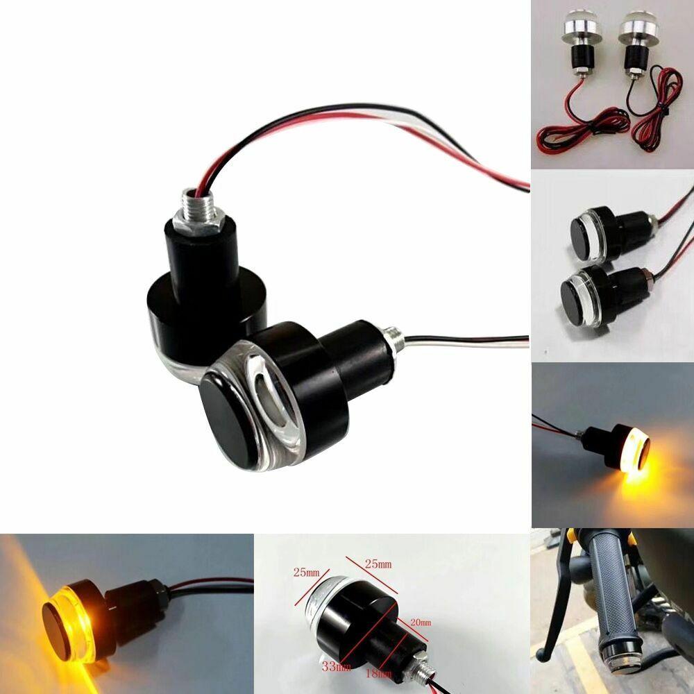 Turn Signals Motorcycle LED Handle Bar End Blinker for 22mm Handlebar Amber Grip Plug Signal Light Flashing Handle Bar 1 pair
