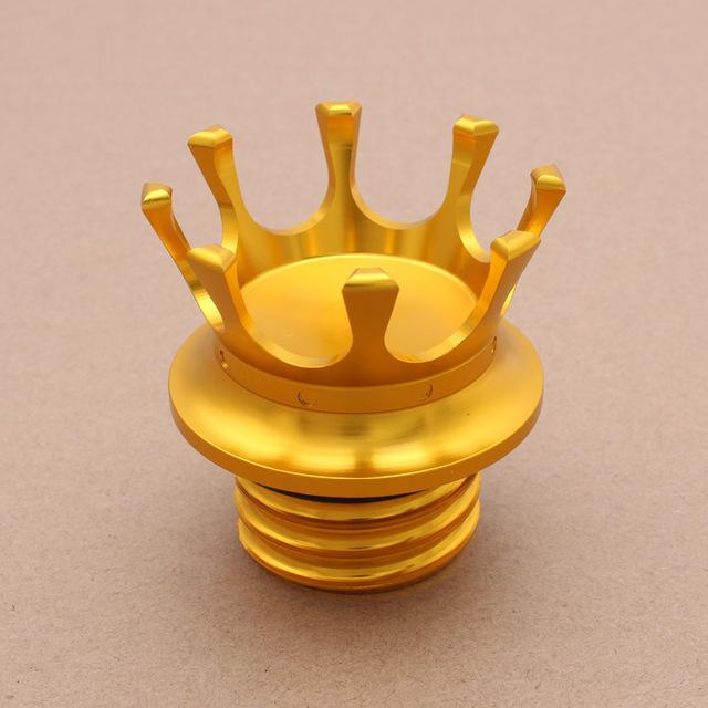 Motorcycle Gas Cap King Crown Style Flush Oil Fuel Tank Cap Golden