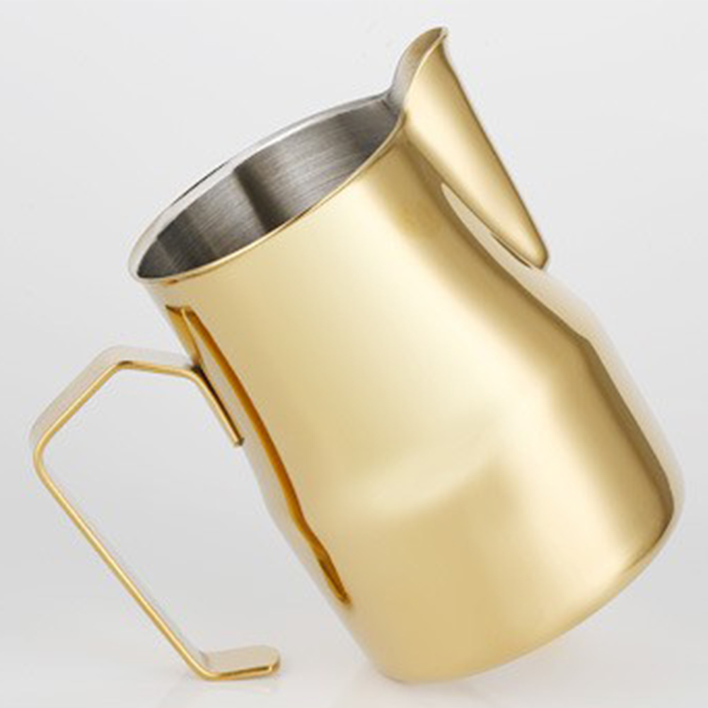 550ml Stainless Steel Frothing Pitcher Pull Flower Cup Coffee Milk Froth Gold