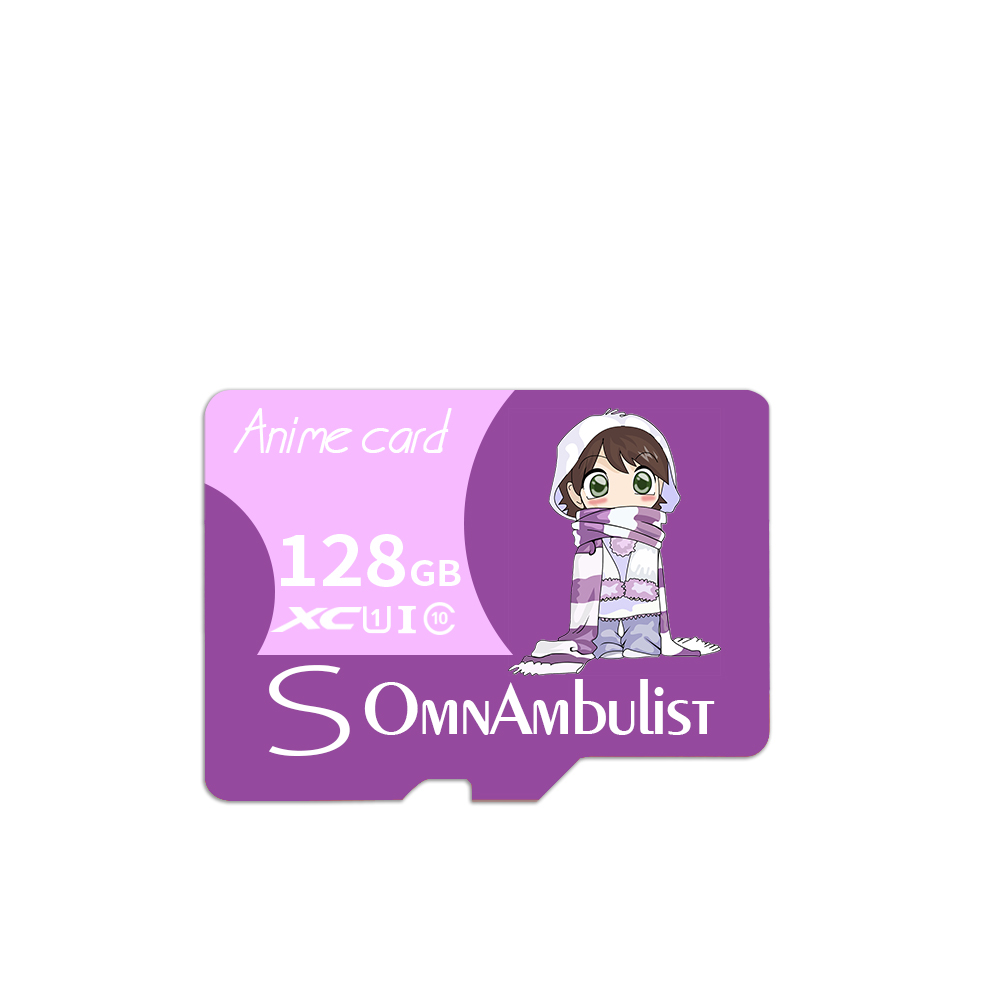 Cartoon Purple Girl TF Memory Card with Adapter and Card Reader