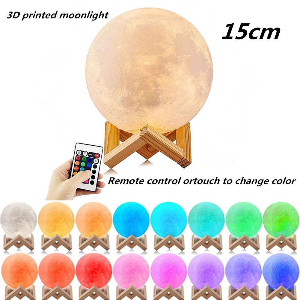 LED 16 Colors 3D Printing Moon Lamp