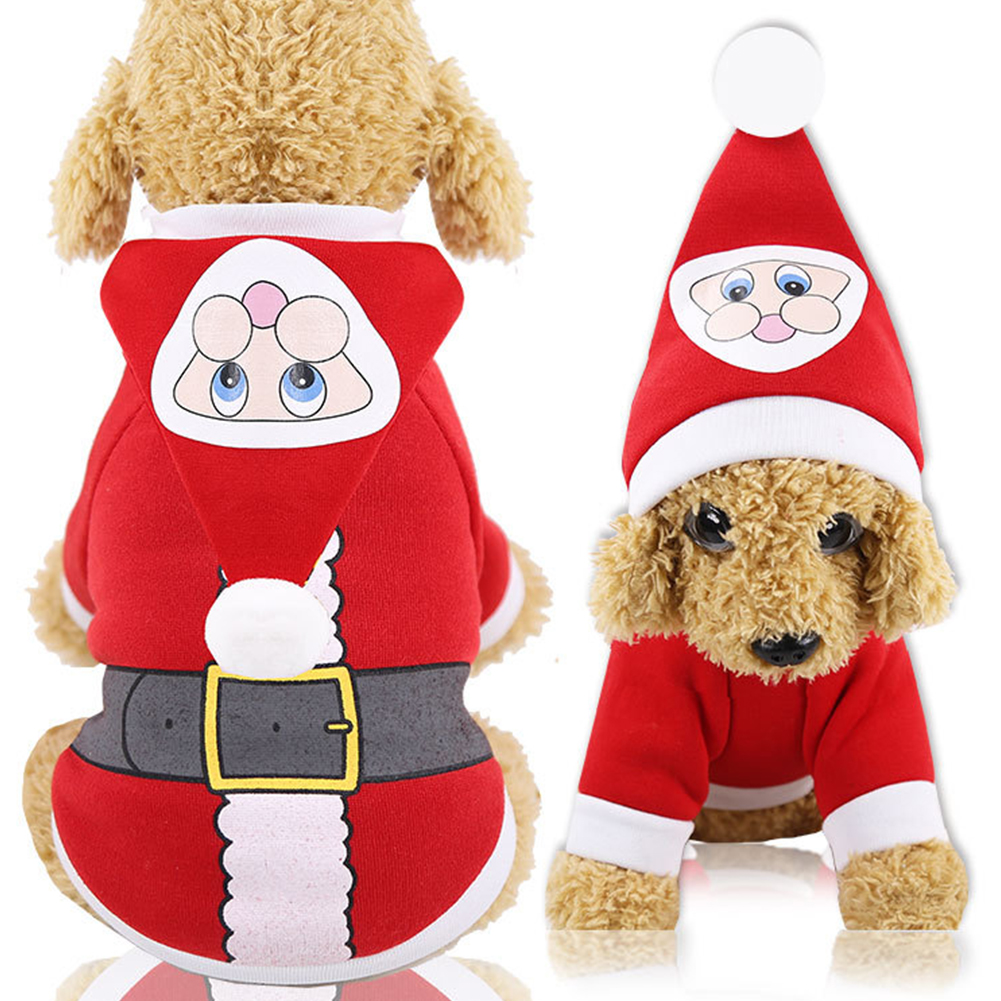 Christmas Xmas Pet Cat Autumn and Winter Hooded Clothes Sweater for Medium Small Dog Hooded sweater with red bottom black belt_M