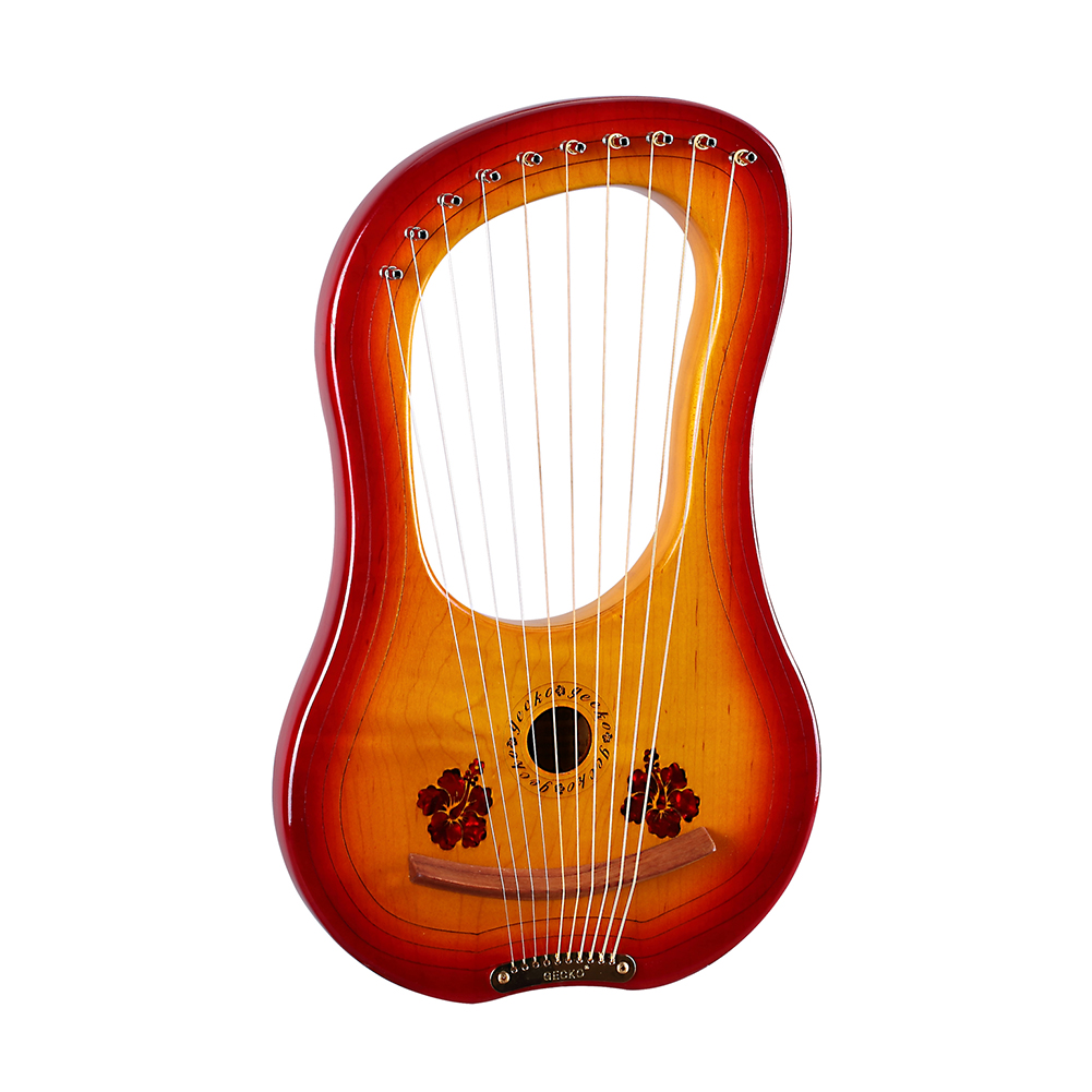 10-String Wooden Lyre Harp Metal Strings Mahogany Solid Wood String Instrument with Carry Bag