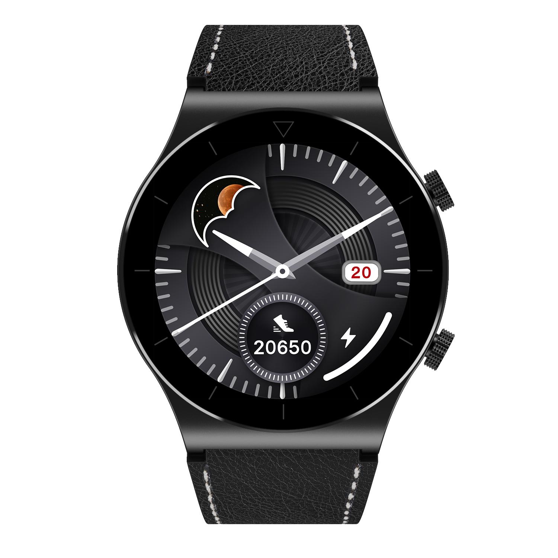 M99 Smart Watch Bluetooth Calls Fitness Bracelet Multi-sport Modes Heart Rate Sleep Monitoring Smartwatch Black leather